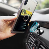 mobile phone card holder  back sticker with Magnetic car finger ring - carolay-co