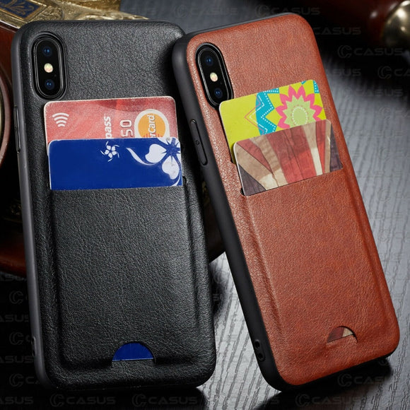 iPhone XS Max XR Case Luxury Slim PU Leather Card Holder - carolay.co phone case shop
