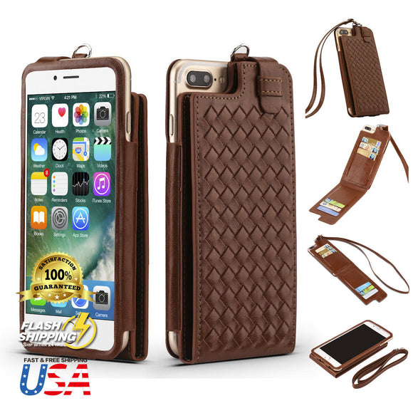 Fits Luxurious Woven Leather Card Slot Wallet Case Lanyard For iPhone - carolay.co phone case shop