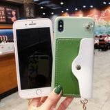 Stylish Wallet Cards Holder Bracket Lanyard Silicone Case For iPhone - carolay.co phone case shop