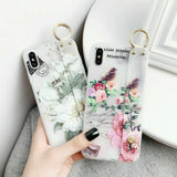 Flower Pattern Clear Slim Hand Strap Holder Case For iPhone - carolay.co phone case shop
