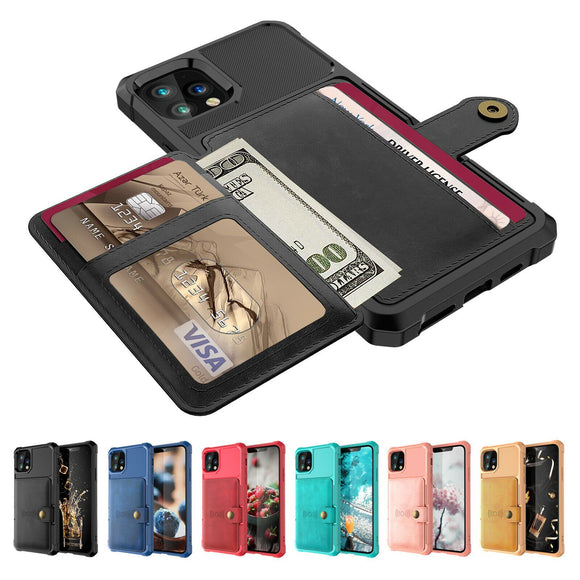 Leather Holder Flip Card Wallet Cover For iPhone