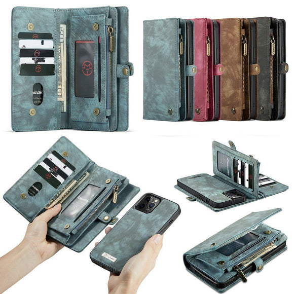 Magnetic Zipper Leather Wallet Case For iPhone