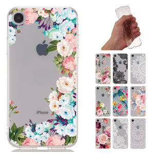 Flower Pattern Clear Soft Ultra Slim Back Case For iPhone - carolay.co phone case shop