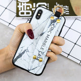 Marble Pattern Leather Wrist Band Stand Cover For iPhone - carolay.co phone case shop