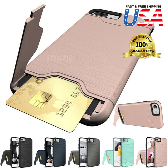 Kickstand Card Pocket Armor Shockproof Hybrid Cover For iPhone - carolay.co phone case shop