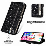 Glitter Bling Leather Zipper Wallet Case For iPhone - carolay.co