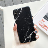 Slim Matte Marble Pattern Back Case For iPhone - carolay.co phone case shop