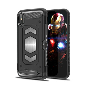 Fits Rugged Hybrid Magnetic Shockproof Card Holder Case For iPhone - carolay.co phone case shop