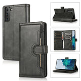 Flip Magnetic Leather Strap Card Case for Samsung Galaxy S21/Ultra/Plus