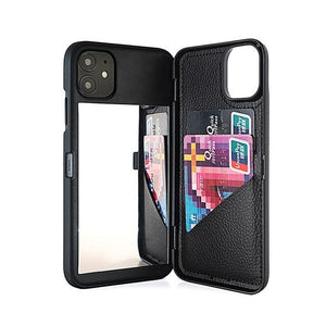 Card Slot Wallet Makeup Mirror Back Cover Flip Case for iPhone - carolay.co - free shipping