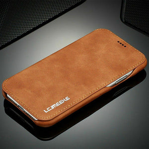 Luxury Leather Wallet Stand Slim Case For iPhone - carolay.co phone case shop