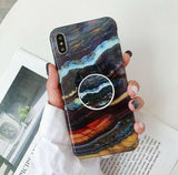 Marble Case With Holder Stand Quality For iPhone XS/XS Max - carolay.co phone case shop