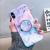 Marble Case With Holder Stand Quality For iPhone 11/11Pro - carolay.co phone case shop