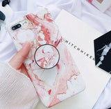 Marble Case With Holder Stand Quality For iPhone 7/Plus - carolay.co phone case shop