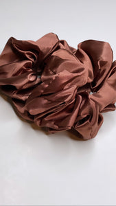 Red-Brown Silk  Scrunchie