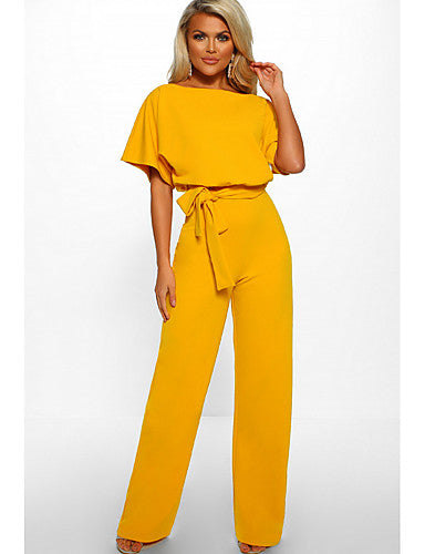 Women's Daily / Going out Elegant Navy Blue Yellow Khaki Jumpsuit, Solid Colored Drawstring XL XXL XXXL Short Sleeve Summer