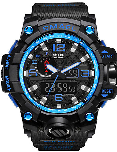 SMAEL Men's Sport Watch Military Watch Wrist Watch Japanese Japanese Quartz Quilted PU Leather Black / Blue / Red 50 m Water Resistant / Waterproof Alarm Calendar / date / day Analog - Digital Charm