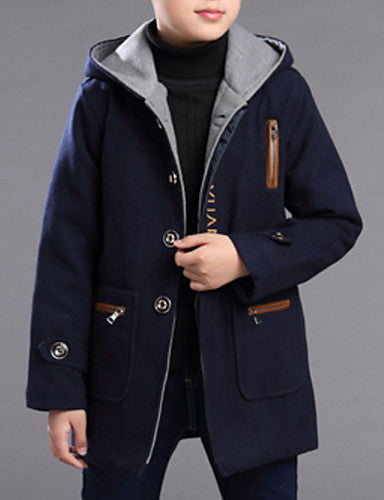 Kids Boys' Basic Solid Colored Jacquard Long Sleeve Cotton Trench Coat Navy Blue