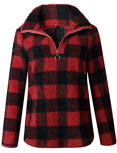 Women's Casual Sweatshirt - Plaid Red S