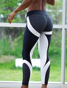 Women's Sports Sporty Legging - Geometic, Print Mid Waist Black Gray M L XL / Skinny