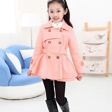 Kids Girls' Street chic Daily Solid Colored Long Sleeve Long Trench Coat Pink