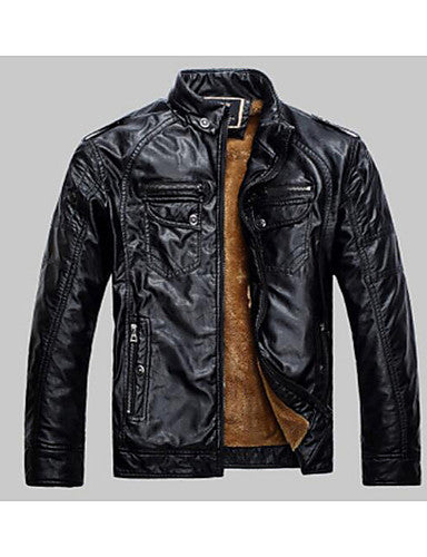 Men's Daily / Weekend Punk & Gothic Fall / Winter Regular Leather Jacket, Solid Colored Stand Long Sleeve PU Brown / Black / Yellow