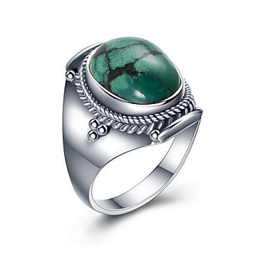 Men's Band Ring Turquoise Turquoise Light Blue S925 Sterling Silver Circle European Gift Jewelry Oval Cut Cocktail Ring