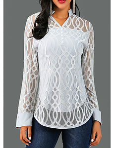 Women's Causal Blouse - Solid Colored / Geometry Lace V Neck Gray / Spring / Fall