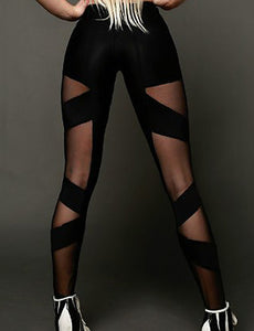 Women's Sexy Cross - spliced / Sporty Legging - Solid Colored, Mesh Mid Waist Black M L XL / Skinny