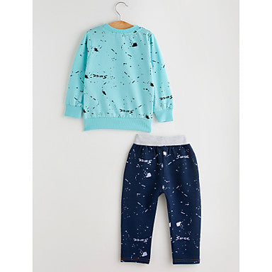 Toddler Boys' Casual Active Geometric Long Sleeve Regular Cotton Clothing Set Blue