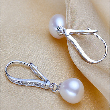 Freshwater Pearl Classic Earrings - Pearl, S925 Sterling Silver Blessed Glam, Fashion, Elegant White For Party Gift Women's / 1 Pair