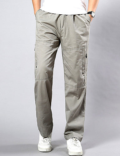 Men's Chinoiserie Plus Size Daily Weekend Loose / Sweatpants / Cargo Pants - Solid Colored Spring Fall Yellow Army Green Light gray XXXL XXXXL XXXXXL