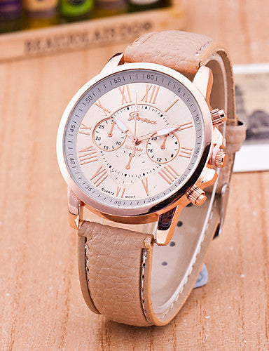 Geneva Women's Wrist Watch Quartz Leather Black / White / Blue Casual Watch Analog Ladies Casual Fashion - Pink Light Blue Khaki One Year Battery Life / Tianqiu 377
