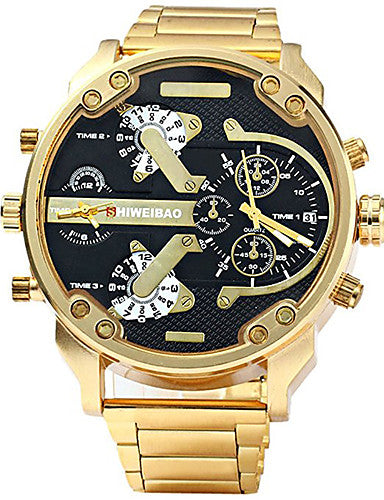 Men's Sport Watch Military Watch Bracelet Watch Stainless Steel Black / Gold Water Resistant / Waterproof Calendar / date / day Creative Analog Charm Luxury Casual Bangle - Black / Gold Blue White