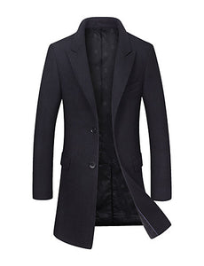 Men's Daily Basic Fall / Winter Long Coat, Solid Colored Fantastic Beasts Peaked Lapel Long Sleeve Wool / Polyester Black / Wine / Green