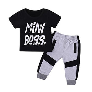 Toddler Boys' Basic Solid Colored Short Sleeve Cotton Clothing Set Black