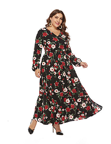 Photo by Supplier Report Copyright Infringement Women's A Line Swing Dress - Floral Split Red Black XL XXL XXXL XXXXL