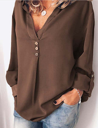 Women's Daily Blouse - Solid Colored Black