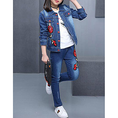 Kids Girls' Solid Colored Floral Embroidered Long Sleeve Denim Clothing Set Blue