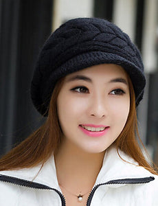 Women's Party Work Rabbit Fur Cotton Blend Bucket Hat Baseball Cap-Solid Colored Knitted Fall Winter Black Wine White / Cute