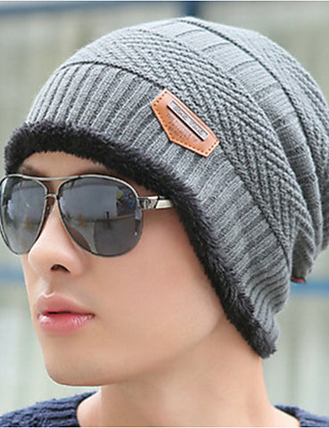 Men's Work Sweater Floppy Hat-Solid Colored Knitted Winter Gray