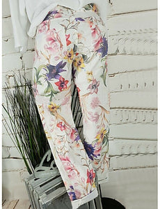 Women's Basic Loose Chinos Pants - Floral White XXXL XXXXL XXXXXL