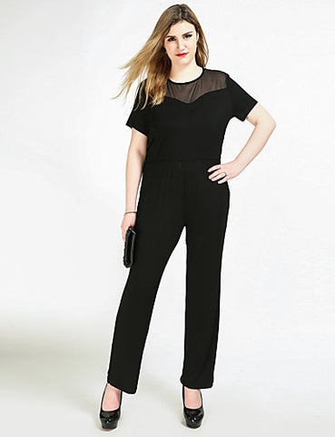 Women's Plus Size Party / Daily / Work Vintage Black Jumpsuit, Solid Colored Mesh XXXXL XXXXXL XXXXXXL Short Sleeve