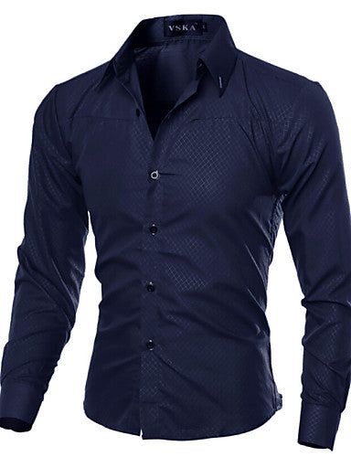 Men's Daily Work Business Plus Size Slim Shirt - Solid Colored Basic Spread Collar Navy Blue / Long Sleeve / Spring / Fall