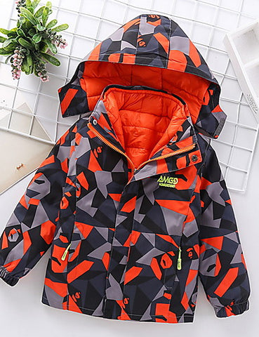 Kids Boys' Street chic Geometric Jacket & Coat Orange