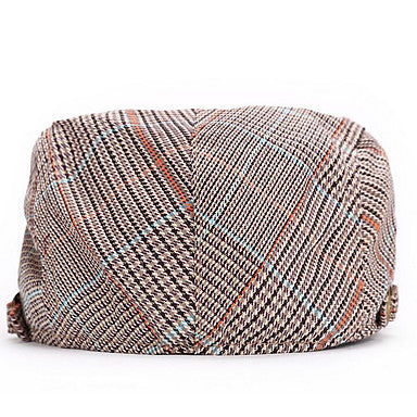 Unisex Basic Street chic Polyester Beret Hat-Striped Brown