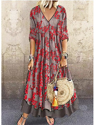 Women's Elegant Maxi A Line Dress - Floral Sequins Print Deep V Red Green Gray M L XL XXL
