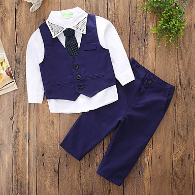 Kids Boys' Basic Street chic Daily Holiday Solid Colored Rivet Long Sleeve Regular Clothing Set Blue