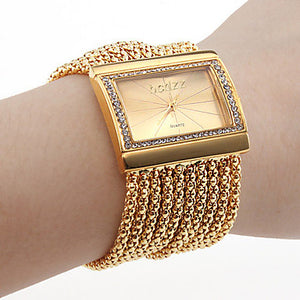 Women's Luxury Watches Bracelet Watch Gold Watch Japanese Quartz Copper Gold Imitation Diamond Analog Ladies Luxury Sparkle Fashion Elegant - Silver Golden One Year Battery Life / Stainless Steel